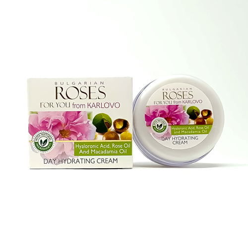 Day Hydrating cream with Hialuronic acid, Rose oil and Macadamia oil