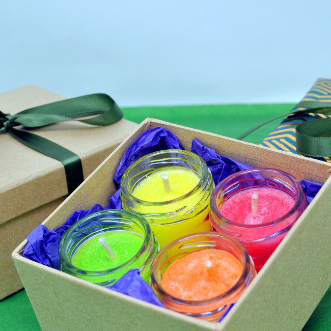 Aroma Set of 4 Scented Handcrafted Sparkling Vegan Candles