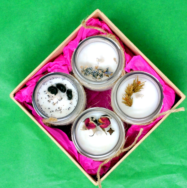 Set of 4 Scented Soy Wax Candles In a Glass Jar With Metal Lid