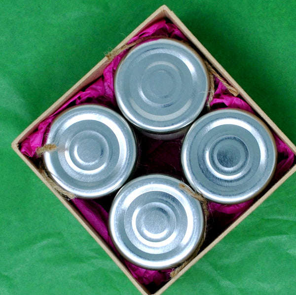 Box Set of 4 Scented Soy Wax Candles In a Glass Jar With Metal Lid