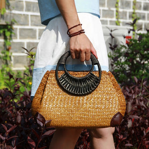 Wood Handle Straw Handbag