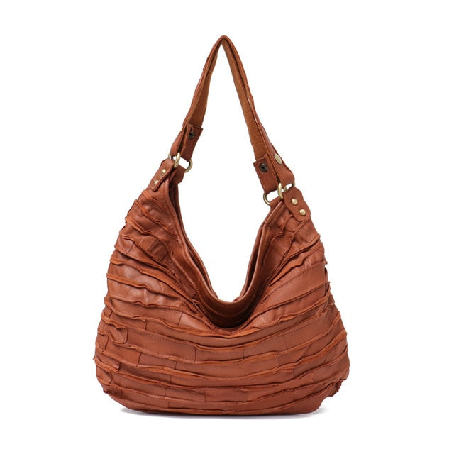 Patchwork Leather Hobo
