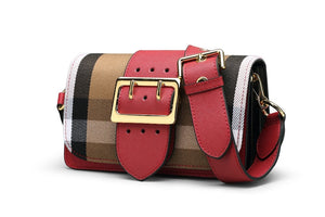 Plaid Buckle Front Crossbody