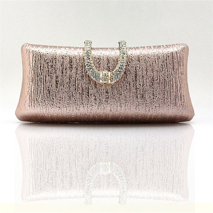 Rose Gold Crystal Buckle Clutch