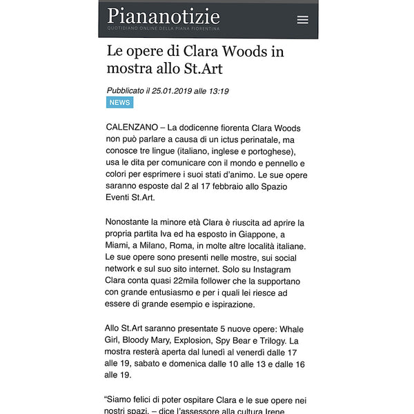 Piananotizie.it: Le opere di Clara Woods in mostra allo St.Art