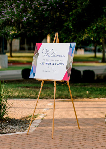 wedding welcome sign by paper tie affair