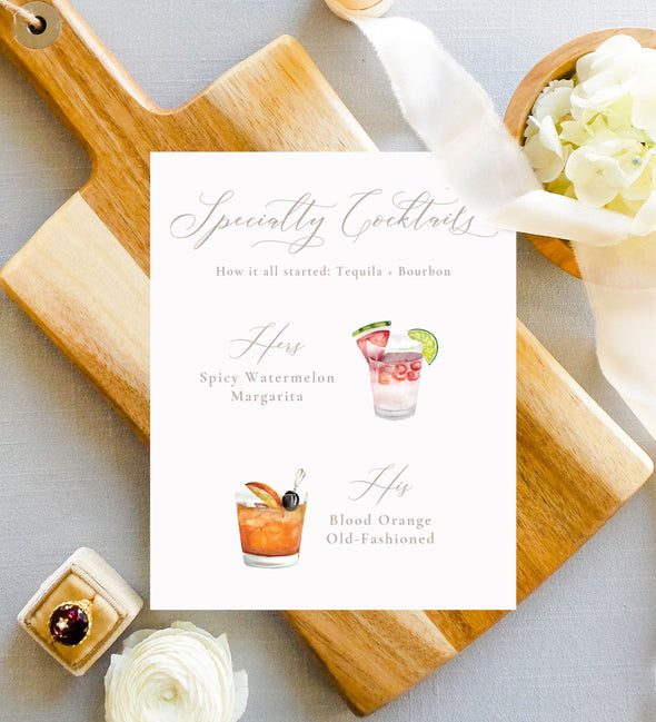 signature drink wedding sign