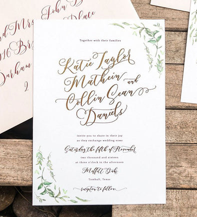 Aurora Leaf Wedding Invitation