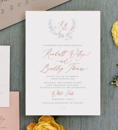Autome Crest Wedding Invitation