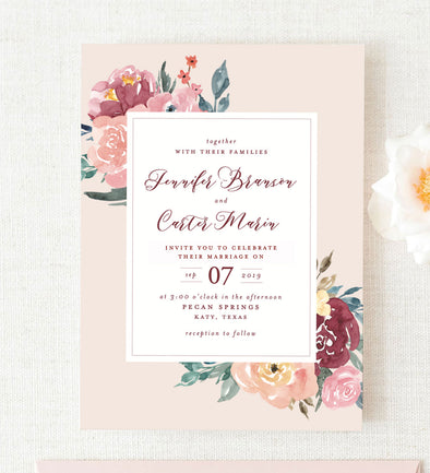Blushed Floral Wedding Invitation
