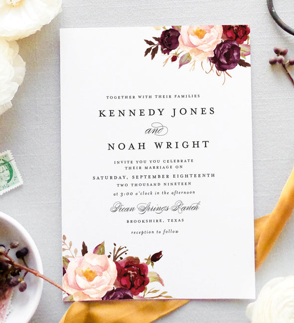 Burgundy Blooms Wedding Invitation