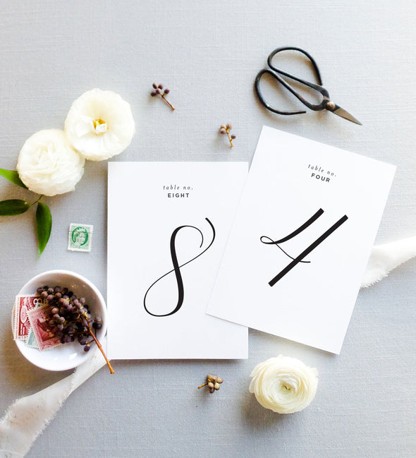 Classic Calligraphy Table Number