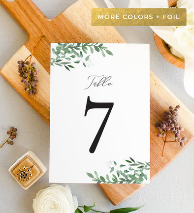 Simple Greenery Table Number