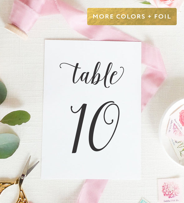 Dancing Script Table Number
