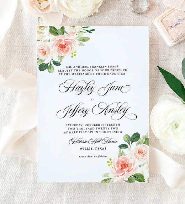 Delicate Blush Wedding Invitation