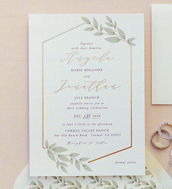 Geometric Leaves Wedding Invitation