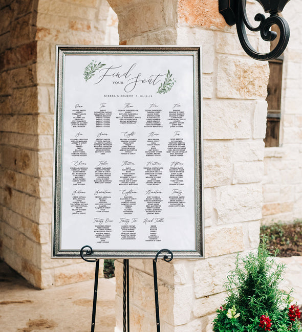 Simple Greenery Seating Chart