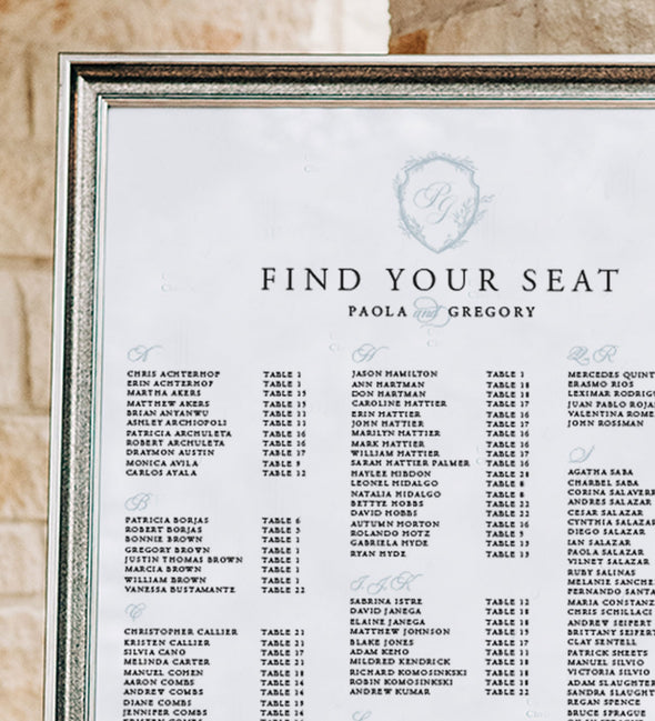 Monogram Shield Seating Chart