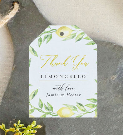 Lemon Branch Limoncello Favor Tag