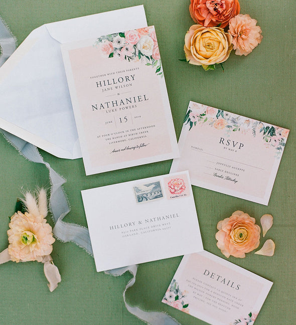 Pale Blush Florals Wedding Invitation