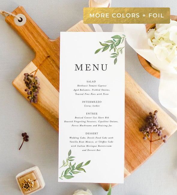 Simple Greenery Menu