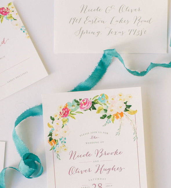 Swept Florals Wedding Invitation