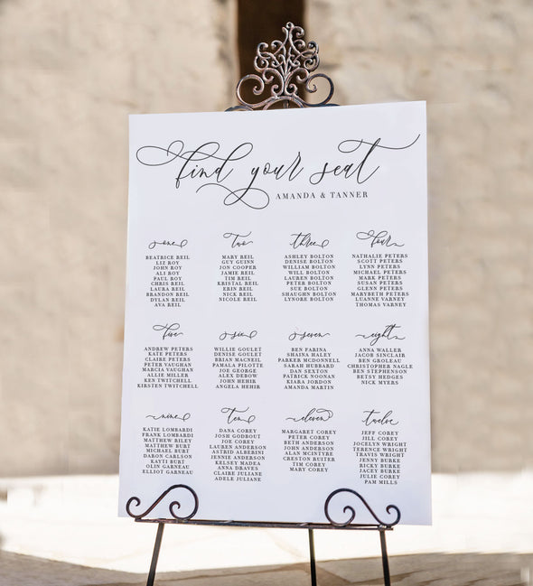 Timeless Romance Seating Chart