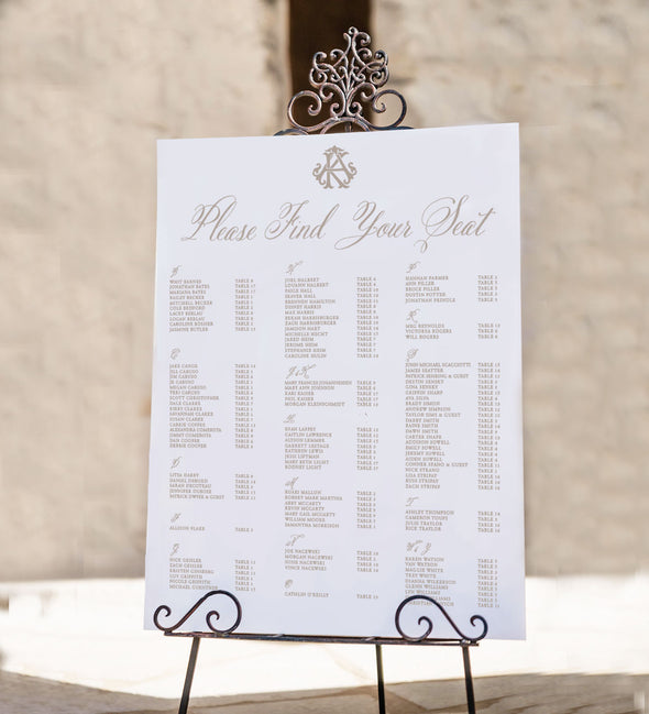 Vintage Script Seating Chart