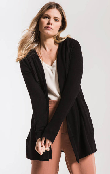 Sweater Knit Hooded Cardigan