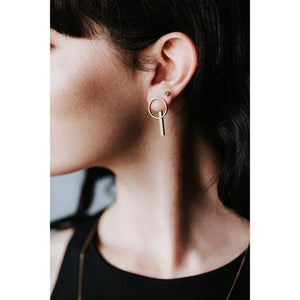 Circle Bar Jacket Earrings