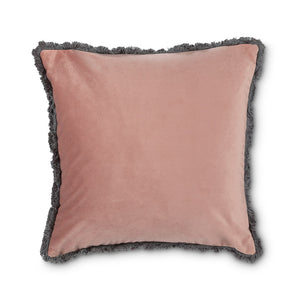 Rose Velvet Pillow w/Fringe
