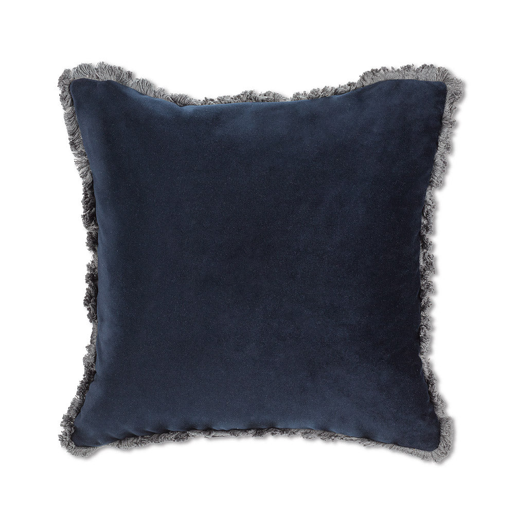 Navy Velvet Cushion w/Fringe