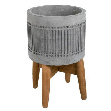 Concrete Planter w/Wood Stand
