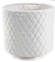 White Ceramic Planter Textured