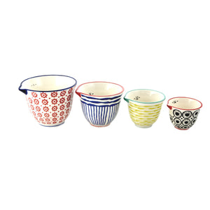 Ceramic Painted Measuring Cups S/4