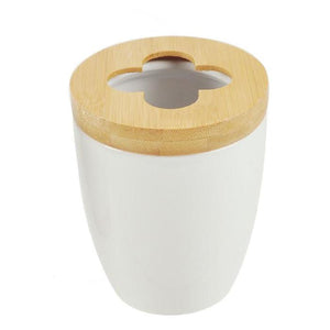 Ceramic w/Bamboo Toothbrush Holder