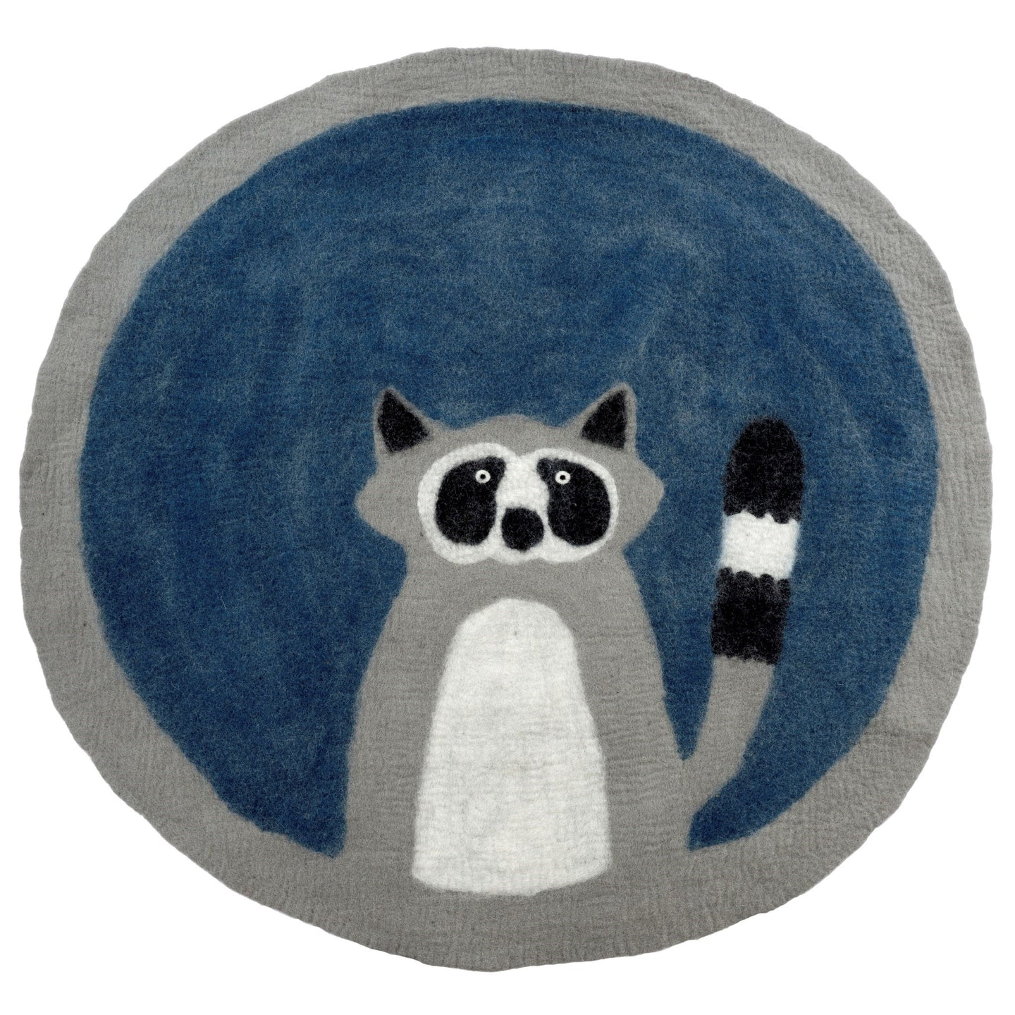 Felted Wool Rug Raccoon