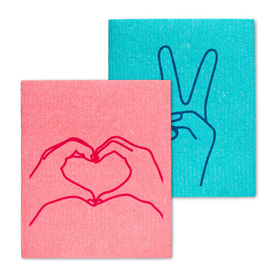 Peace and Love Dishcloths Set/2