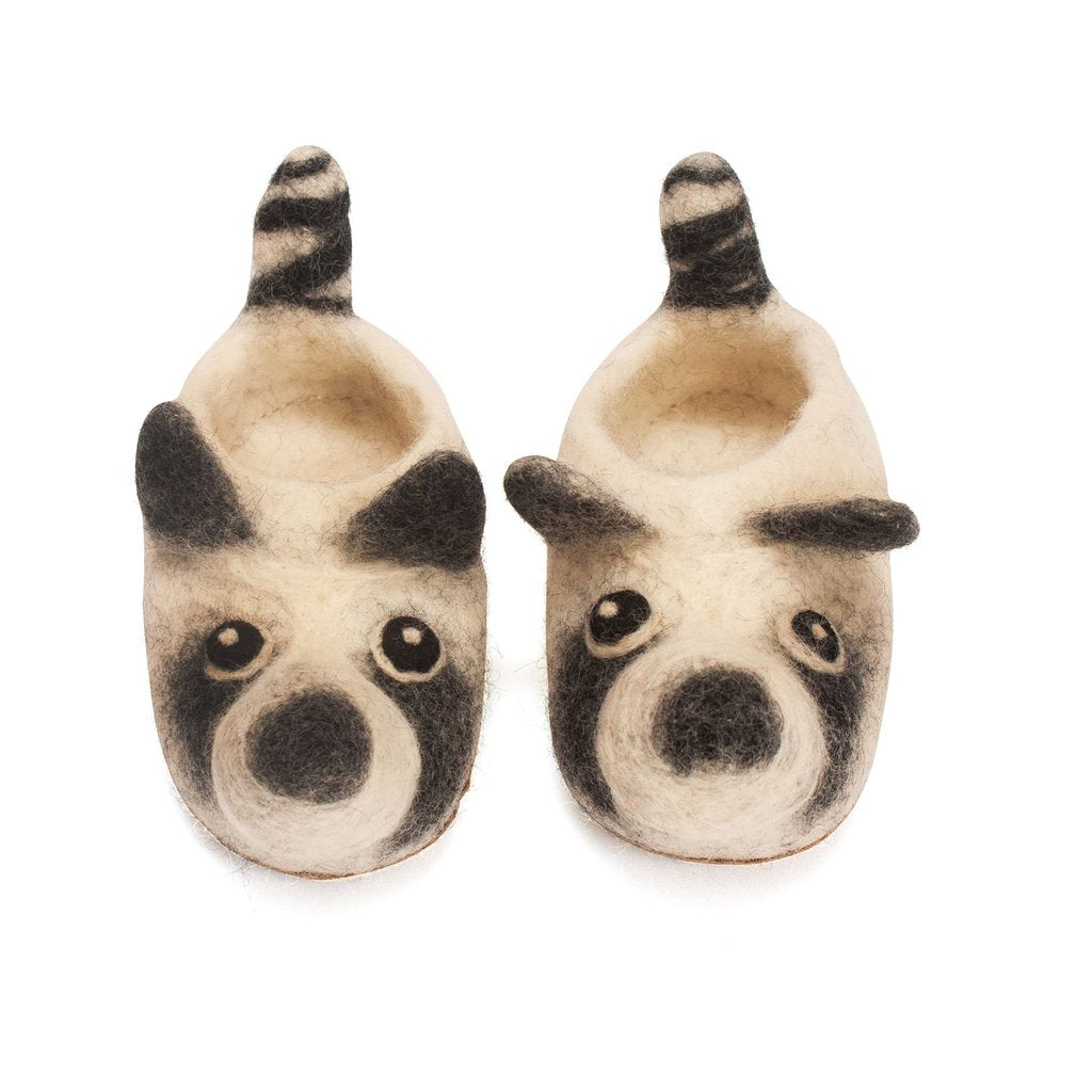 Felted Racoon Slippers