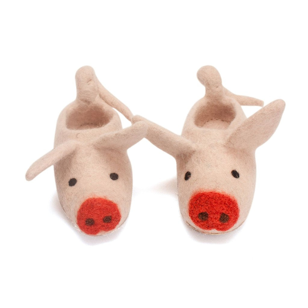Felted Pig Slippers