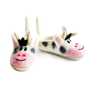 Felted Cow Slippers