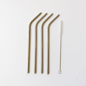 Stainless Steel Straws + Brush 4pc
