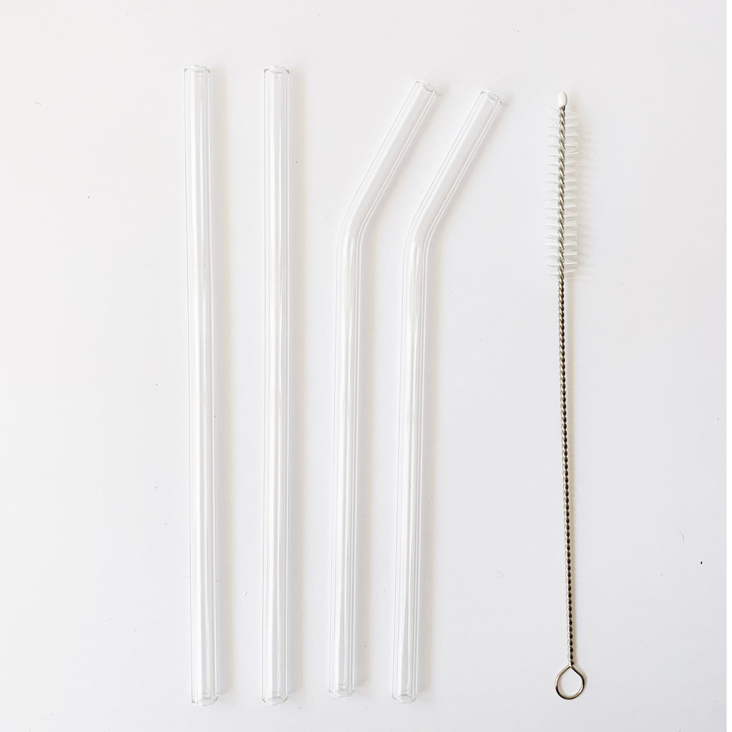 Glass Straws + Brush 4pc