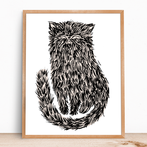 Brushy Cat Print