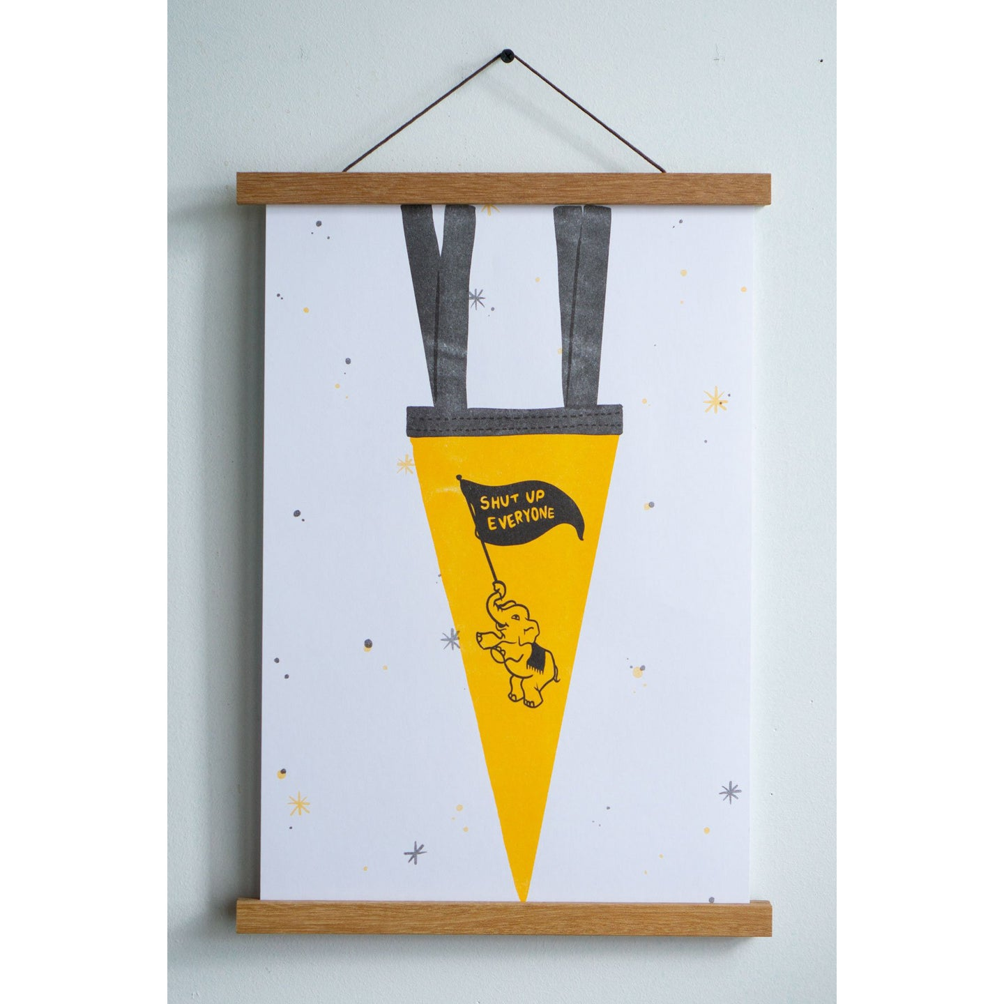 Shut Up Pennant Riso Print