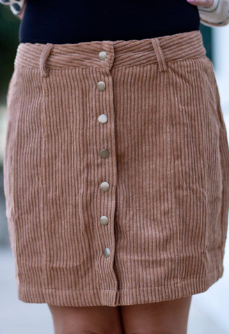 Camel Button Down Skirt