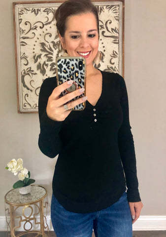 Nina Black Long Sleeve Top