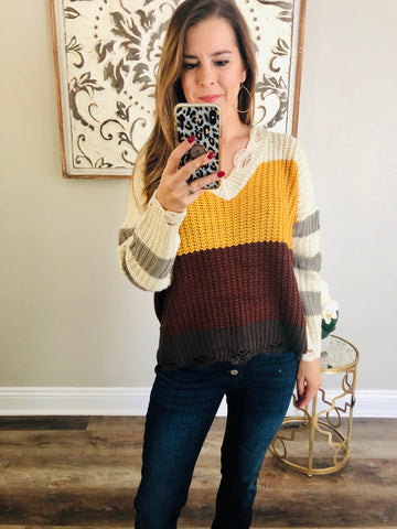 Sienna Color Block Sweater