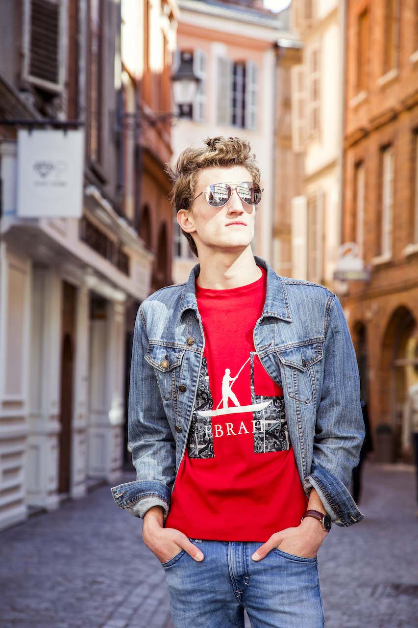 EBRAH, MODE RESPONSABLE, MODE HOMME T-SHIRT ROUGE