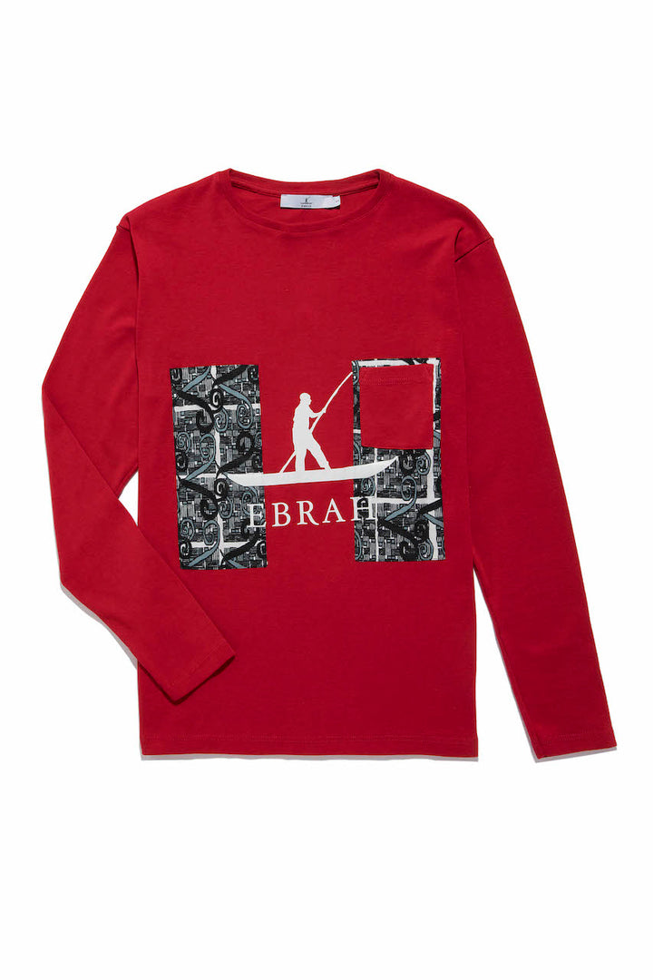 EBRAH T-shirt rouge homme col rond